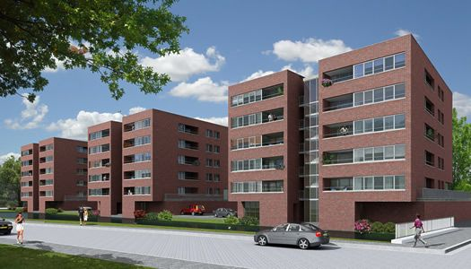 Concept idee voor een oplossing van appartementen gebouwen in de wijk. Ziet er nieuw uit maar heeft toch efficientie als het gaat om woningsdichtheid.