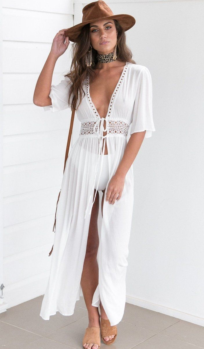 51b869c962 Sexy lace-up transparent beach White Long Maxi Dress No reviews
