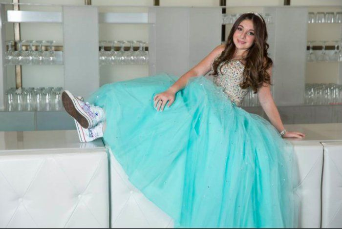 Beautiful Bat Mitzvah dress with custom sneakers!    Bat Mitzvah Dress | Bat Mitzvah Fashion | Custom Sneakers | Bat Mitzvah Shoes