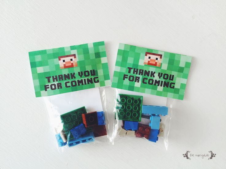DIY Minecraft Steve Lego Birthday Party Favors + free printables
