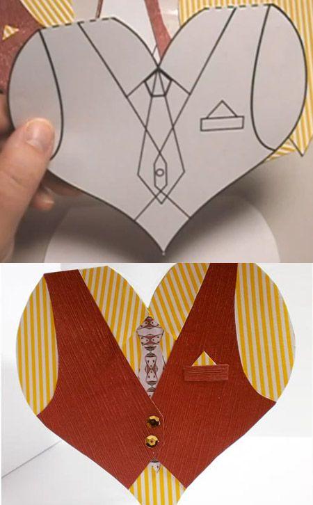 Camisa tarjeta corazon y su molde. Card shirt heart template