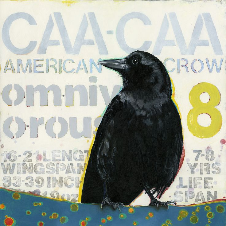 """Original Painting . . . """"American Crow"""" 12"""" x 12"""" Acrylic on Panel by Artist Angie Carrier"""