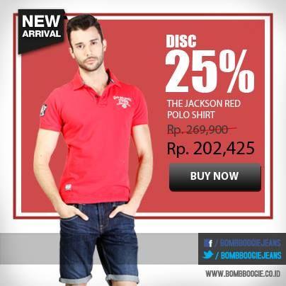Miliki Polo shirt ini guys, selagi diskon 25% lho di: www.bombboogie.co.id. Cuma di online store saja lho!