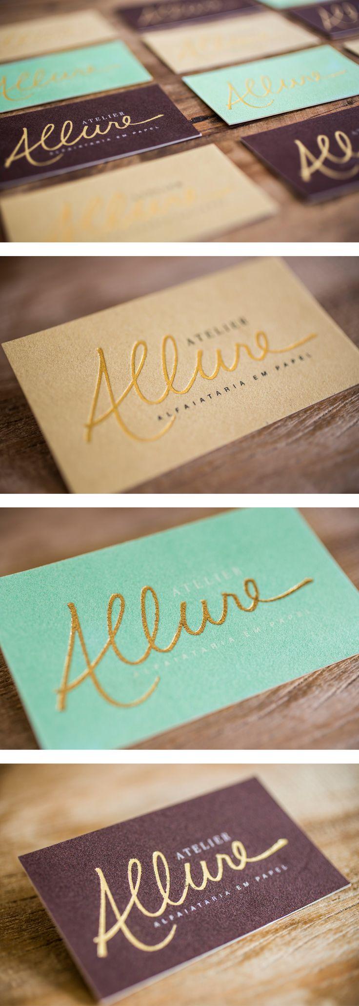 Cartão de visitas em papel camurça, hot stamping ouro e silk. Business card : leather paper, gold foil and silk screen