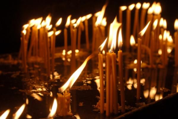 Candles burning for Christmas in an orthodox church