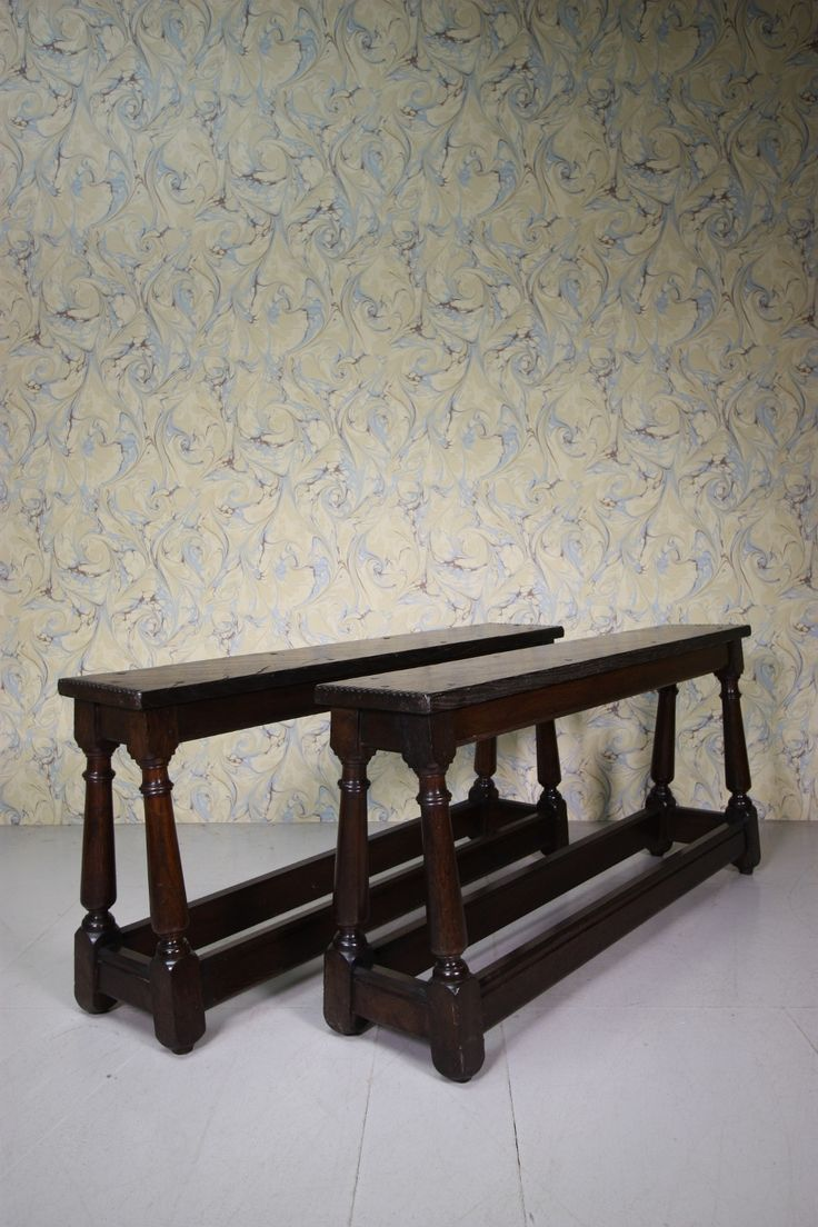 Pair of Period Antique Oak Stools from Newcastle Cathedral