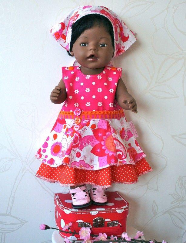 *UITVERKOCHT* Dubbele zomerjurk fuchsia/oranje   *POPPENKLEDING* voor ca. 43cm (o.a. BabyBorn)   Astrids Atelier Poppenkleding