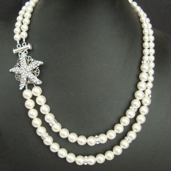 Starfish Bridal Necklace, Pearl Wedding Necklace, Vintage Style Wedding Jewelry, Rhinestone Starfish Necklace, Beach Wedding ,SEA MAIDEN on Etsy, $98.00 IM IN LOVE