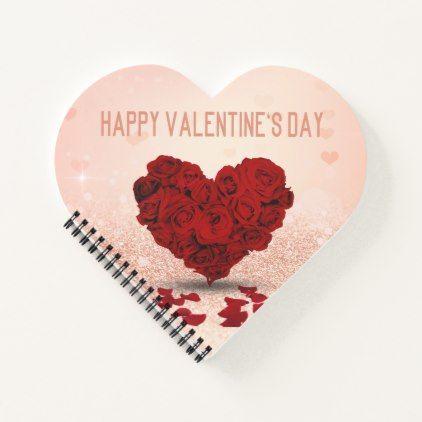 Valentine's Day Rose Heart Bouquet Spiral Notebook | Zazzle.com