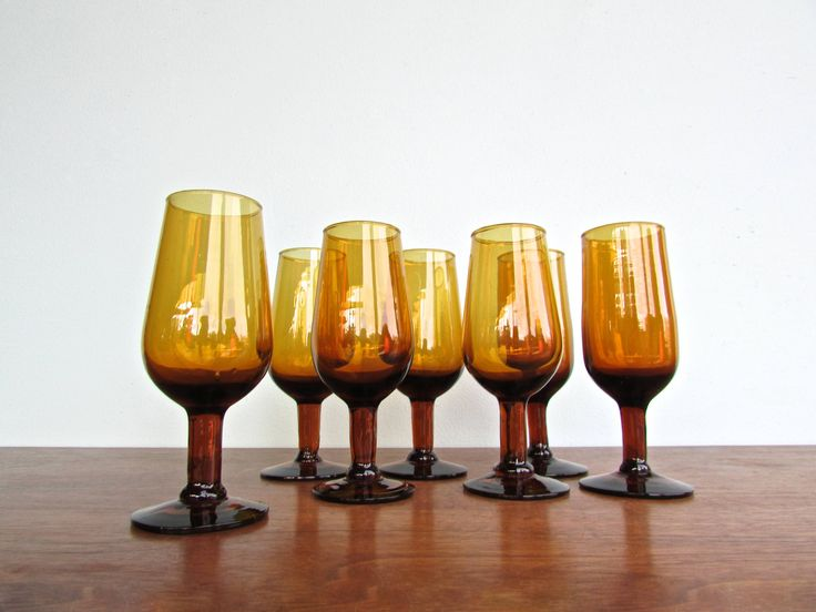 Amber Blown-Glass Stemware, Hand Crafted Mid Century Dessert Wine Glasses w/ Ombre Effect