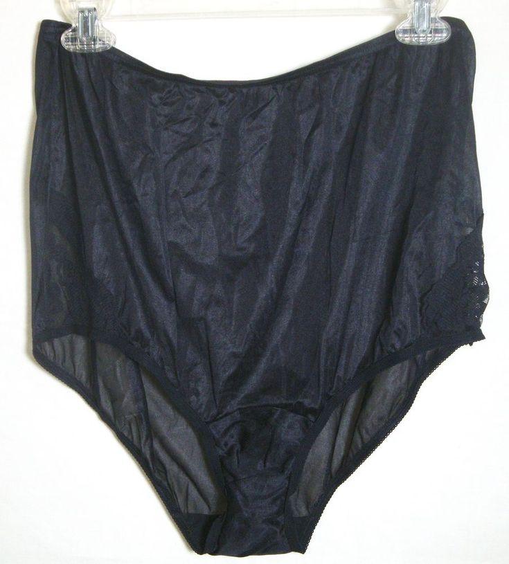 Vintage Granny Panties Vanity Fair SHEER Sissy Black Nylon Gusset Insert Lace 8 #VanityFair