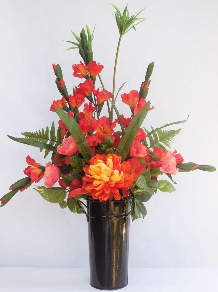 Gladiolus Orange Silk Artificial Flower Floral Simple