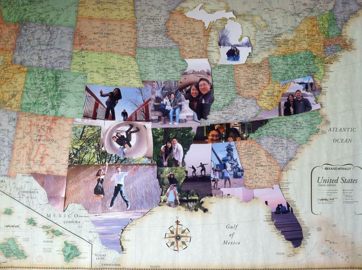 photos from each state they visited glued onto a giant map and cut to fit the shape of the state. so cute!