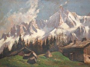 Marcel WIBAULT  Vieux chalets à Charousse les aiguilles de Chamonix  Oil on canvas signed lower left  54 x 73 cm