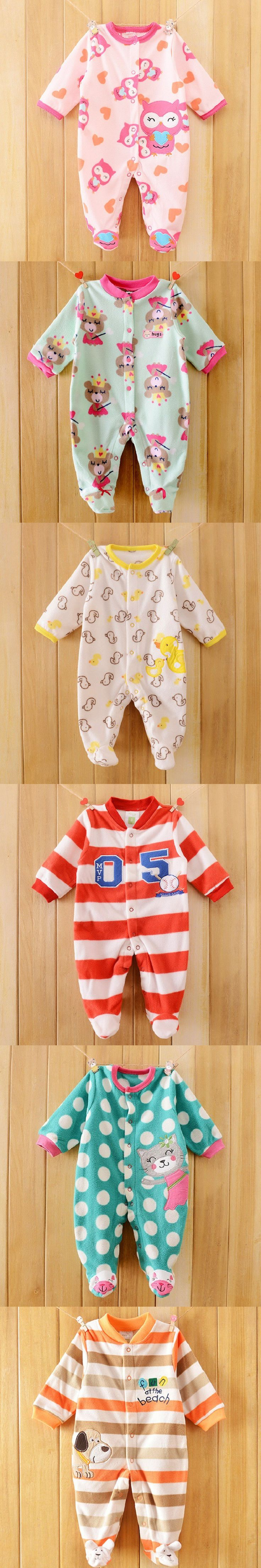 Owl Print Fleece Newborn Baby Girl Overalls Romper Macacao Bebe Body Baby Rompers New Born Baby Clothes, Size 3-12M $10.25