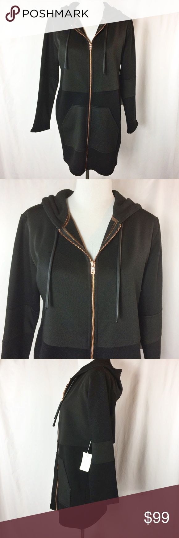 "Lime & Vine Brooklyn Rose Gold Zip Up Hoodie Fantastic oversized, comfy hoodie with contrast scuba front pocket and rose gold zipper detail.  Bust ~38"" Sleeve ~22"" Length ~33""  Main Fabric 51% Cotton 49% Polyester  Secondary Fabric 90% Polyester 10% Elastane  Machine Wash/Lay Flat  Thank you for looking!  May require pressing or steaming upon arrival Lime & Vine Tops Sweatshirts & Hoodies"