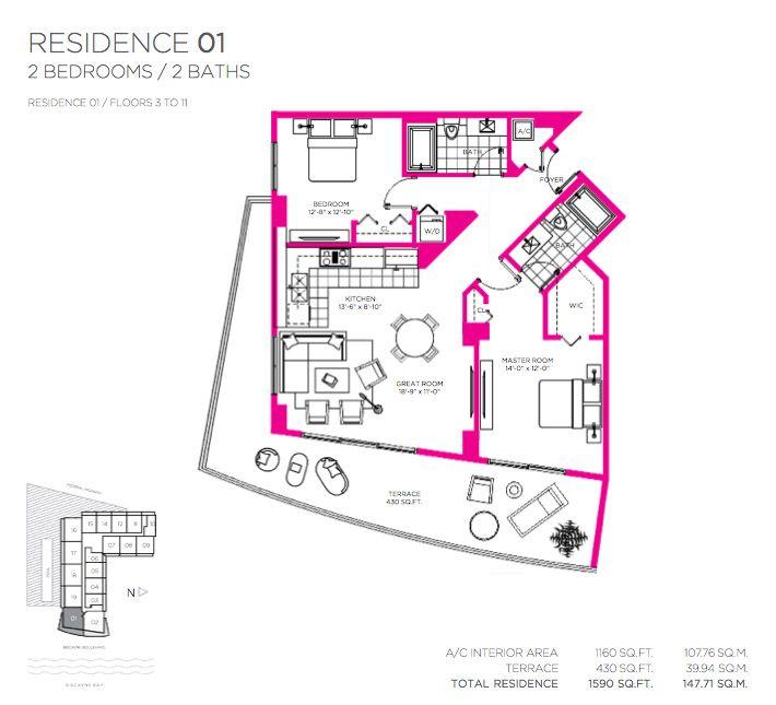 Балтус Дом В Майами Роскошные Апартаменты Этажи 3-11 Поэтажный План