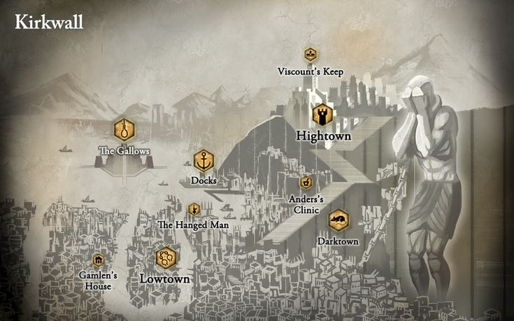 "Dragon Age | RPG | Fantasy Map | To see the Kirkwall RP forum, go here: http://chroniclesofthedas.draebox.com/forum-30.html | Also known as ""The City of Chains"" this Free Marches City State is often at the heart of conflict in Thedas, especially with regards to the mage-templar war."