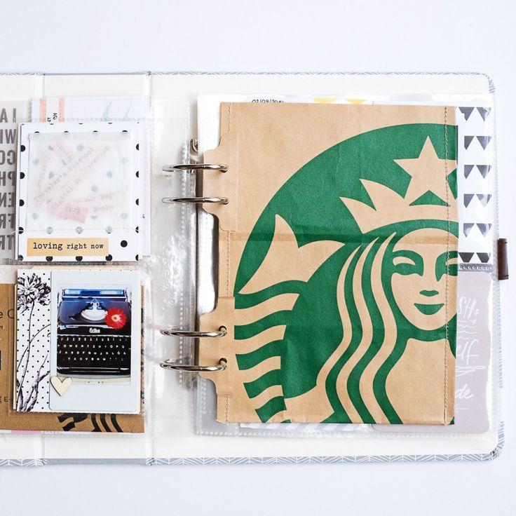 """30 Days Of Me/30 Lists Handbook"". Scrapbooking lists, etc. Love the use of the Starbucks bag. Studio Calico."