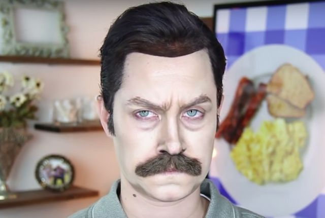 Makeup Artist Channels the Manliness of Ron Swanson | Mental Floss