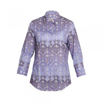 A beautiful shirt with a lilac and purple peacock print. The style is tailored at the waist, but a classic fitting shirt and is the perfect garment for your Summer wardrobe. Wear with jeans and sandals to complete the look. Features include 3/4 sleeves, button through placard and wolfhound embroidery on the chest.