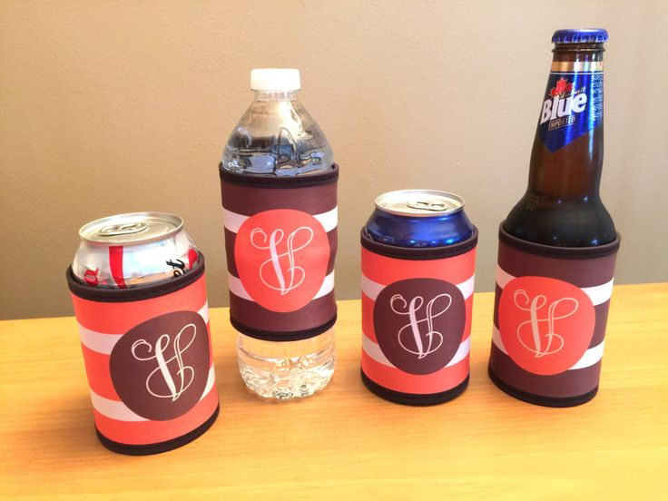Monogrammed Wrap Can Holder - Personalized Bottle Holder - Monogrammed Can Hugger by MJMonograms on Etsy
