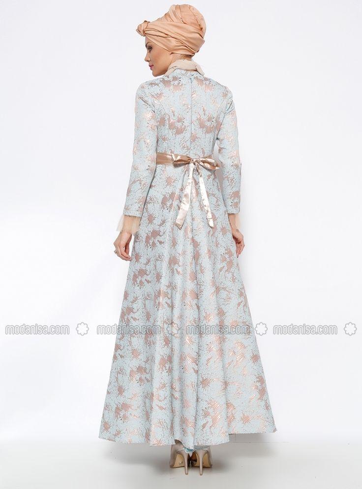 Jakarlı Abiye Elbise - Mavi - Mislina