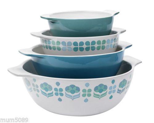 Anna Gare Retro Mixing Bowls MIX Bowl Nest Serve Serving Stoneware SET OF 4 | eBay