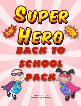 Super Hero Theme Back to School Pack - Back to school has never been easier! This pack is loaded with classroom decorations, open house activites, first week of school activies, and a super hero themed behavior chart. WOW! $