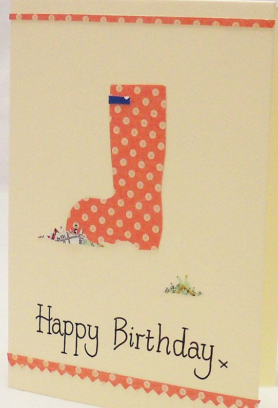 This funky welly birthday card is hand-written with a Happy Birthday calligraphy message on the front. This gardening birthday card has a hand-cut polka dot welly boot and comes with a grass mound cut from a map (map detail will vary slightly from example).This original design card