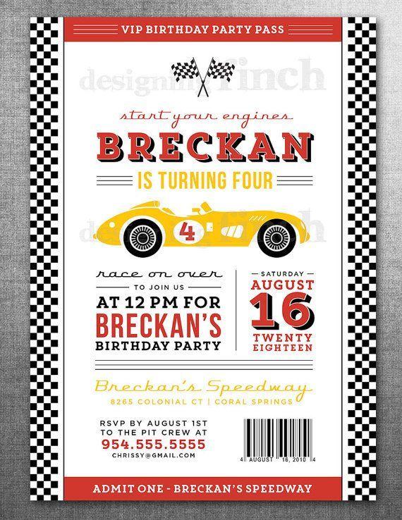 Race Car Birthday Invitation Card Ticket Racing Customizable