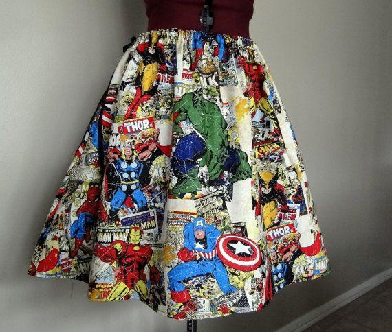Colorful Avengers Comic Book Superhero Skirt, Avengers Clothing, Superhero Clothing, Womens Skirts, Novelty Skirts, Avengers Skirts. $52.00, via Etsy.