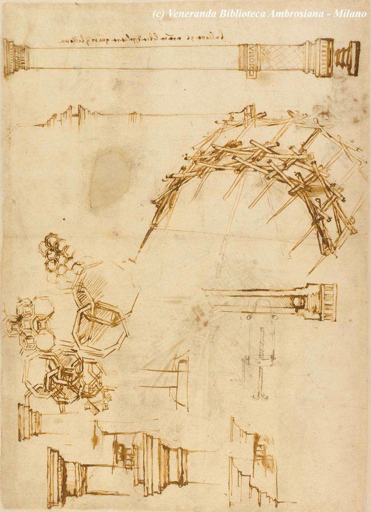 Leonardo da Vinci. Ponte militare di rapida esecuzione, realizzato attraverso l'intelaiatura di tronchi d'albero. Nella parte superiore: grande cannone con culatta avvitabile.