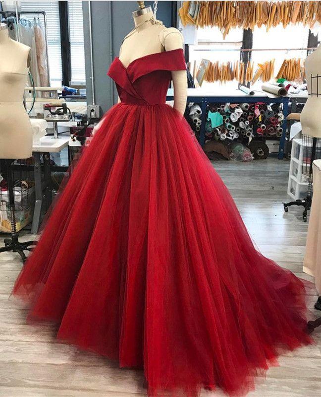 b5516b572cd Off The Shoulder V-Neck Tulle Ball Gown Wedding Dresses
