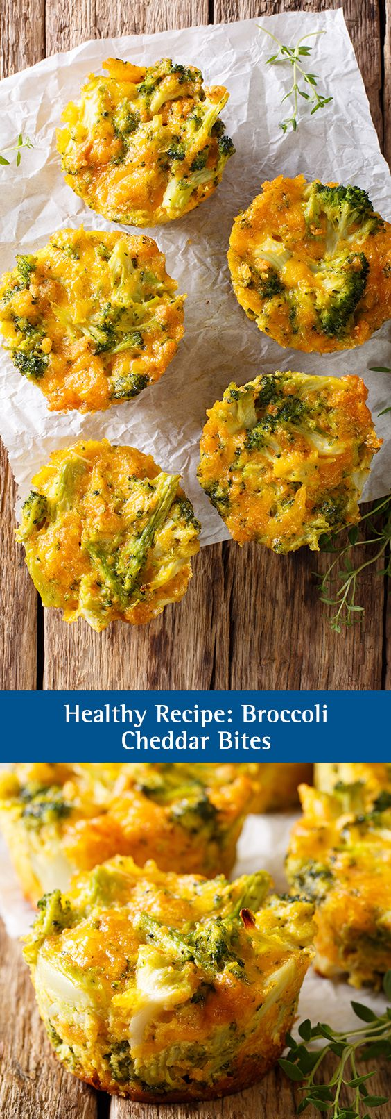 Healthy Recipe: Broccoli Cheddar Bites. These mini bites are the perfect snack for kids who need a little help getting their servings of veggies each day. A great recipe to make as a family! These bites are so cheesy and delicious, you'll forget that they're good for you!