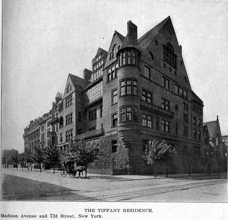 The Tiffany Residence at 898 Madison Avenue, New York City. Begun in 1882, it was occupied in 1885 by Louis Comfort Tiffany and his four children. His wife Mary Woodbridge Goddard, died the year before the house was finished...After nearly a half century in the house, Louis Comfort Tiffany died here in 1933. Three years later the family sold the house to a developer and the unique mansion was demolished to make way for a modern apartment building.