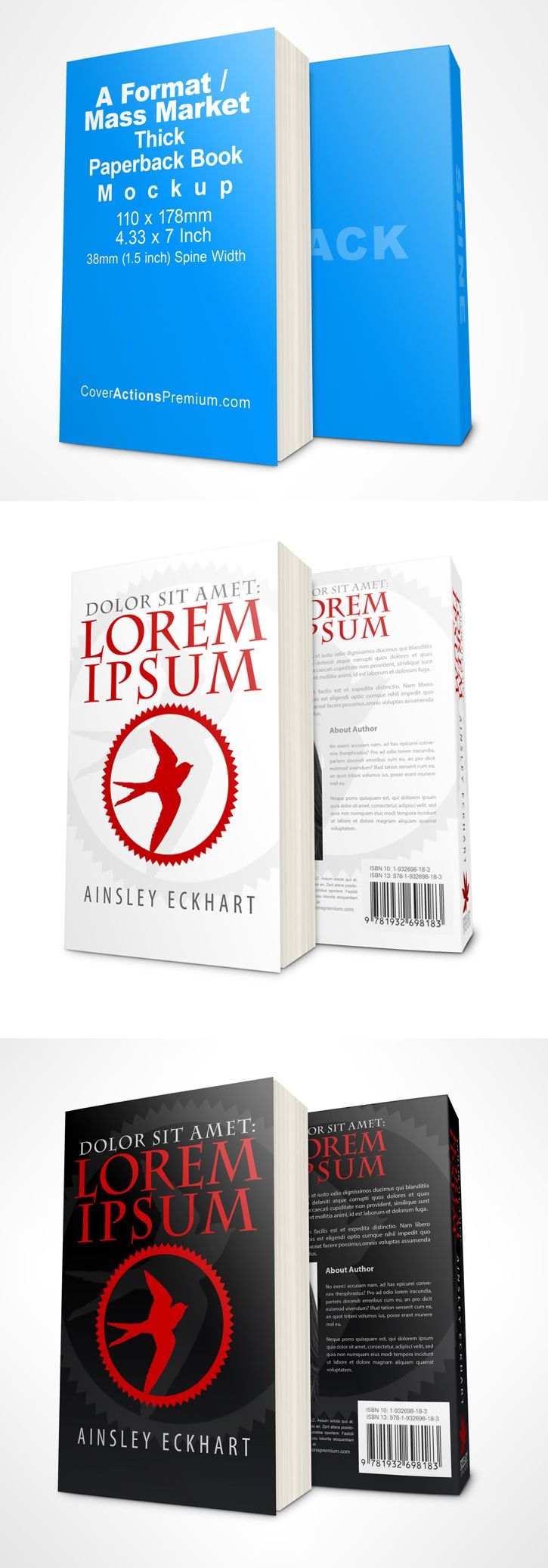 Thick book mockup -mass market paperback