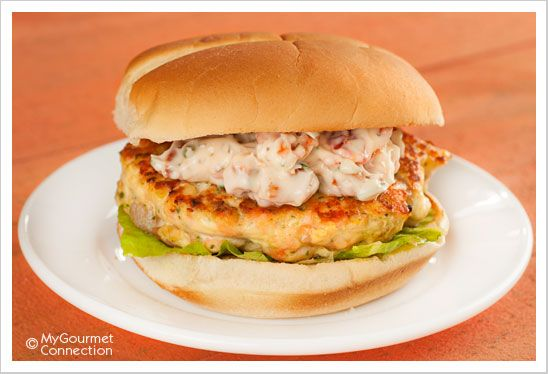 Salmon Burgers with Sun-Dried Tomato-Chive Mayo