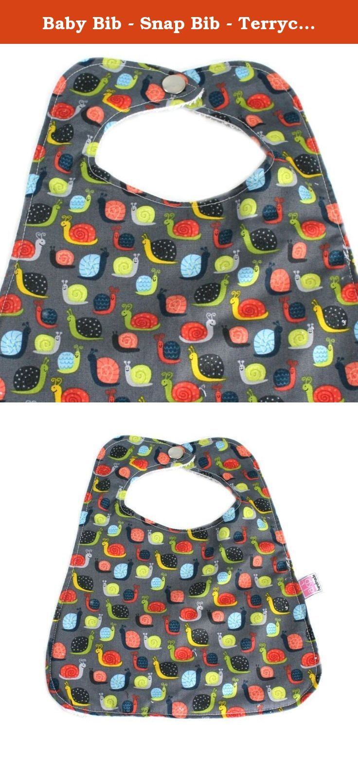Baby Bib - Snap Bib - Terrycloth - Snails. This bib is a great solution to keeping your baby or toddler clean. The bib is made from 100% cotton fabric on the front. The back is made with 100% cotton terrycloth for super absorbency and easy washing. When the meal is over, the bib can double as a wash cloth to clean up the mess. The super secure snap prevents those sneaky hands from pulling it off. The bib can be washed over and over on regular wash for years of use. A must have for all…