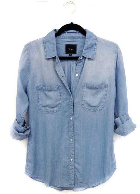 Carter Vintage Chambray | 27 Boutique Soft denim button-down.  Double chest pockets.