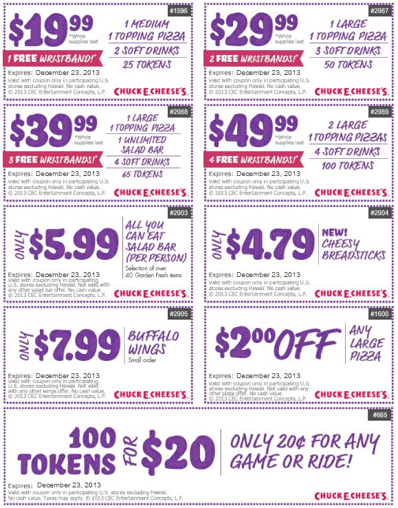 Chuck e cheese 2 pizza coupons