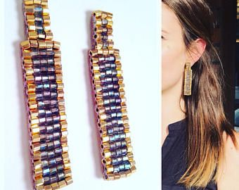 Arco iris de oro Post pendientes