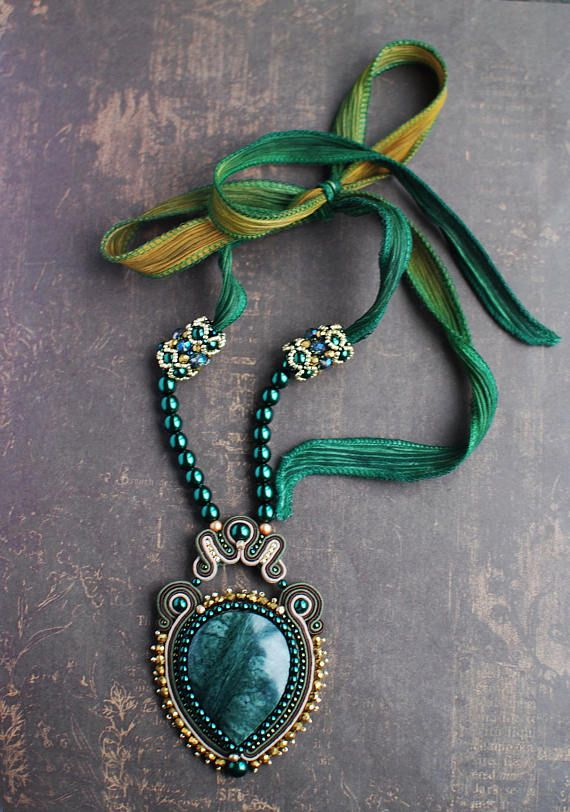Soutache pendant Green and beige pendant with apatite