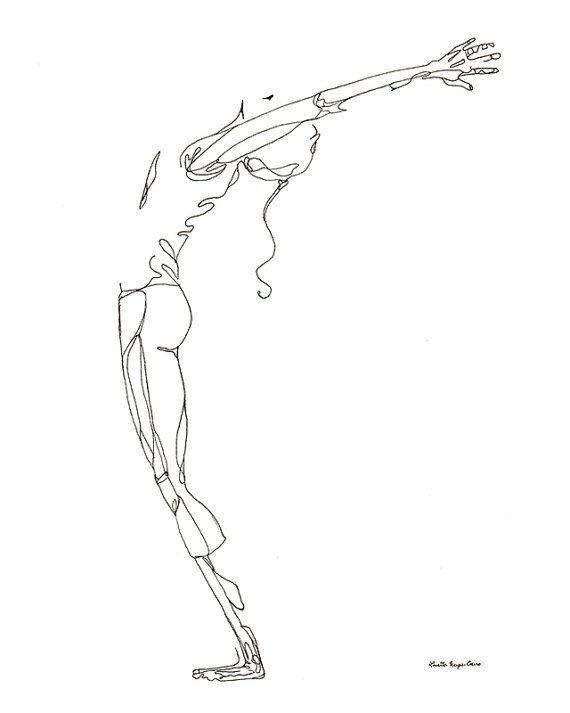 Yoga art print: arms raised, back bend