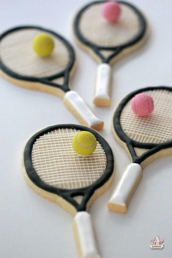 Raqueta de tenis galletas adornadas - Sweetopia