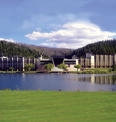 Inn of the Mountain Gods Ruidoso New Mexico. This view is not as breathtaking as the one you see from the hotel lobby or your lake side room...