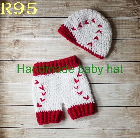 free crochet red socks baseball hat pattern | Free shipping Crochet Baby red/white baseball newsboy caps with Diaper ..
