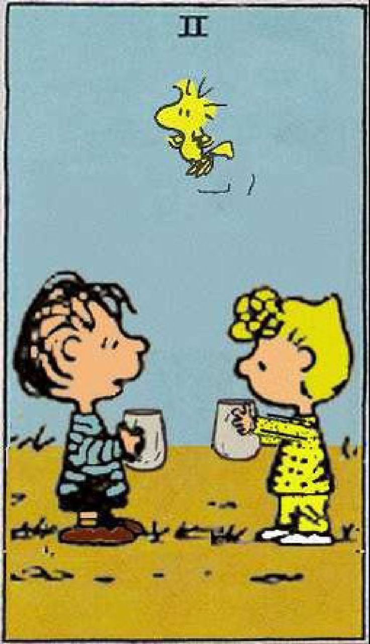 The Two of Cups indicates form, fertility, unexpressed creativity and co-operation.Two's in a reading indicates a period of waiting and anticipation of success in the future and there is a focus on relationships. Partnerships and unions are represented by the Two of Cups. {Peanuts Tarot}