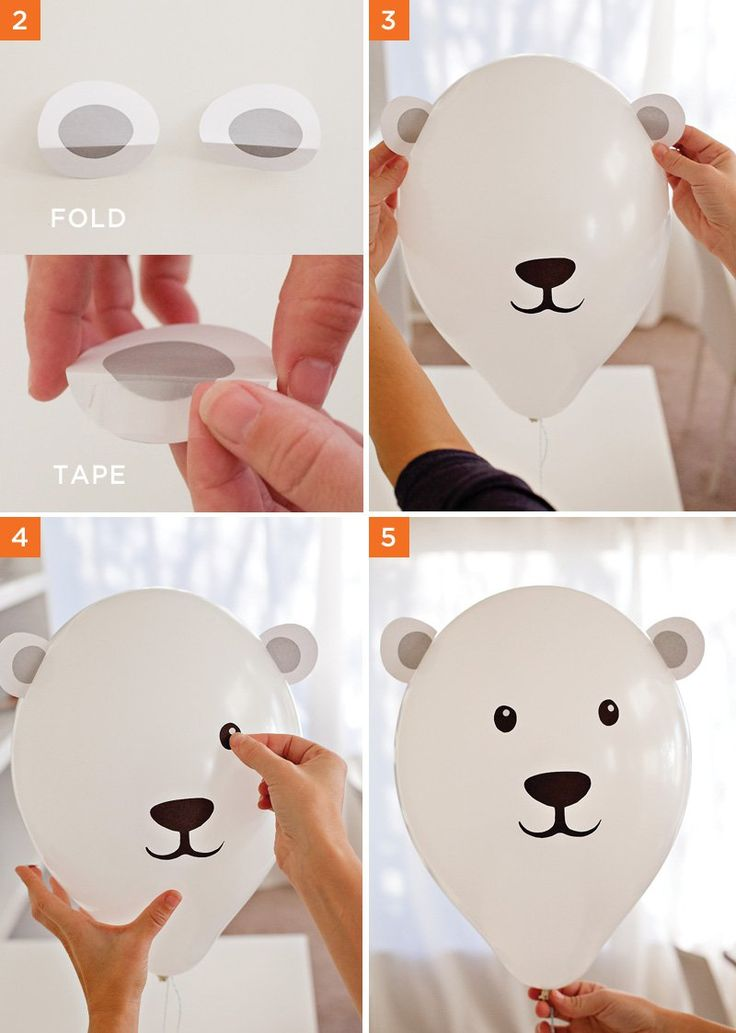 DIY Polar Bear Party Balloons - Assembly
