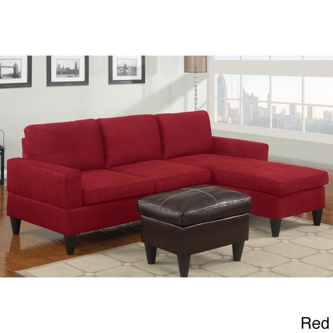 Cool Poundex Hesse Reversible Sectional Sofa in Microfiber Finish with Ottoman